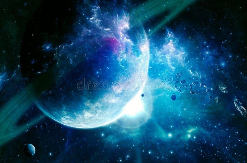 Künstlerischen abstrakten cyan-blauen Saturns Art des Planeten in einem glatten Galaxie-Hintergrund lizenzfreie abbildung