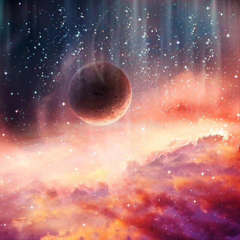 Künstlerischer abstrakter Planet, der in einen glatten bunten Galaxie-Grafik-Hintergrund fällt stock abbildung