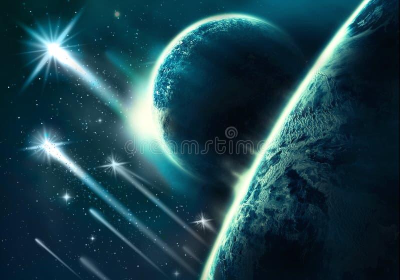 Künstlerischer abstrakter Planeten-Horizont mit ihm ist Mond mit den Kometen, die in ihn fallen vektor abbildung