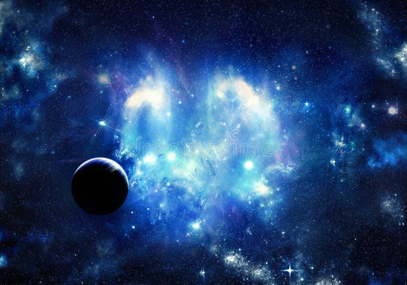 Künstlerischer cyan-blauer Planet der Zusammenfassung in einem hellen Galaxiehintergrund lizenzfreie abbildung