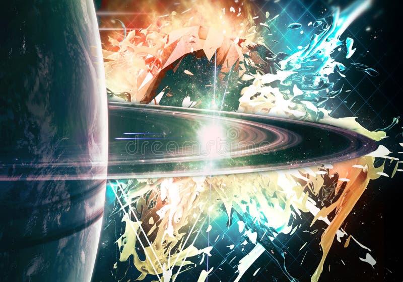 Künstlerischer einzigartiger heller Planet der Zusammenfassung mit einem Ring auf einem gezogenen Nebelfleckhintergrund vektor abbildung