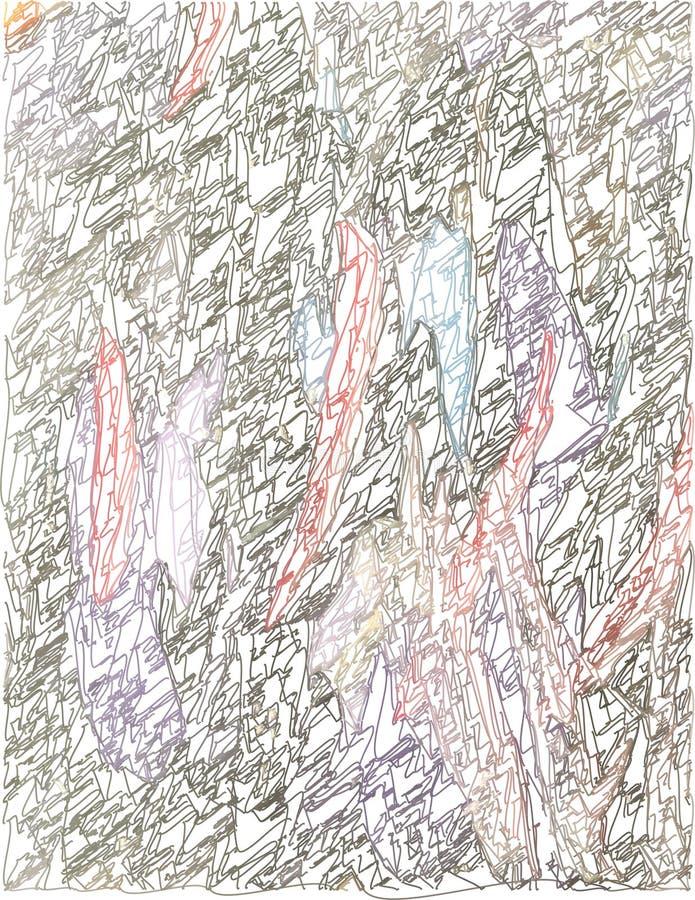 Künstlerischer grauer Hintergrund der Zusammenfassung mit Farbe spritzt, hochrot, blau und violett mit dem Gebrauch von dekorativ stock abbildung