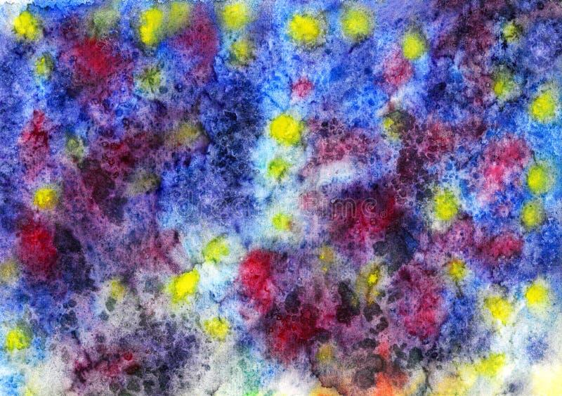 Künstlerischer handgemalter Aquarellhintergrund der Zusammenfassung, Mischfarben in der blaue, gelbe, rote Farbpalette vektor abbildung
