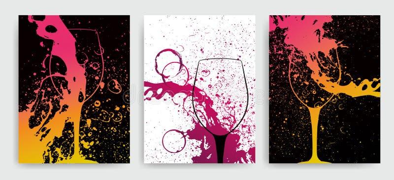 Künstlerischer Hintergrund für Weinereignis Idee für das Malen und Weinereignisförderung Illustration des Weinglases und der bunt stock abbildung