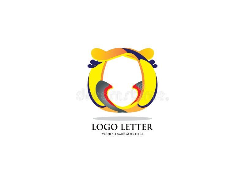 Künstlerischer Logovektor des Buchstaben O Vector Schriftbild für Aufkleber, Schlagzeilen, Poster, Karten usw. lizenzfreie abbildung