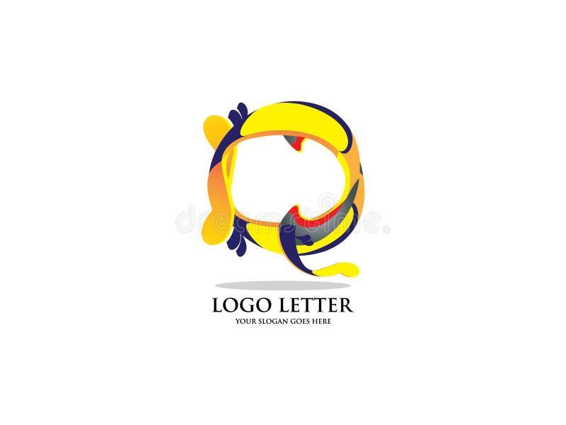 Künstlerischer Logovektor des Buchstaben Q Vector Schriftbild für Aufkleber, Schlagzeilen, Poster, Karten usw. lizenzfreie abbildung