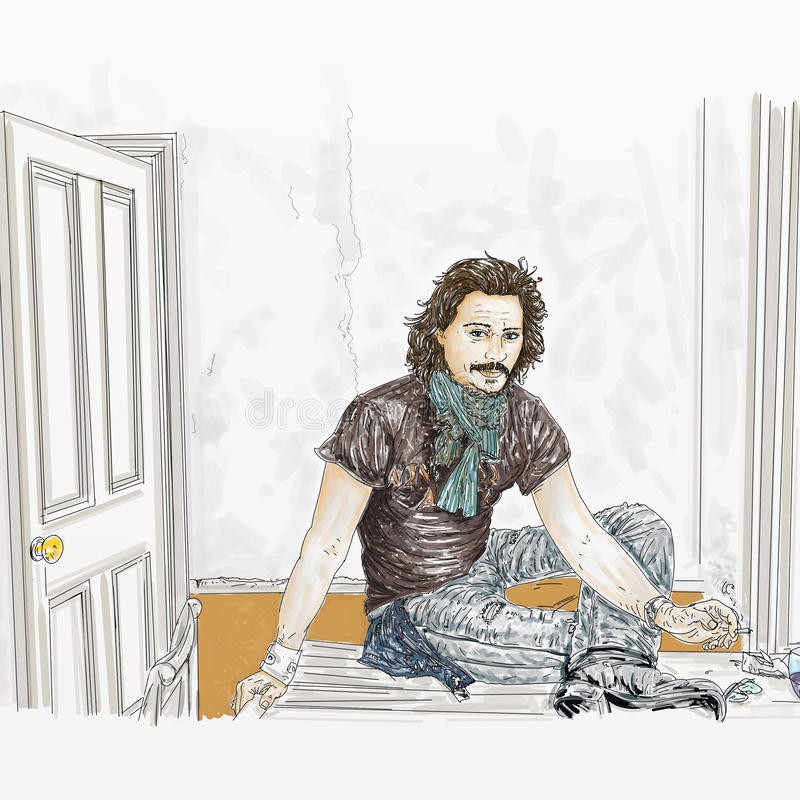 Künstlerischer Silkscreen, rauchender Tabak und Zigarettenpapiere Johnny Depp lizenzfreie abbildung