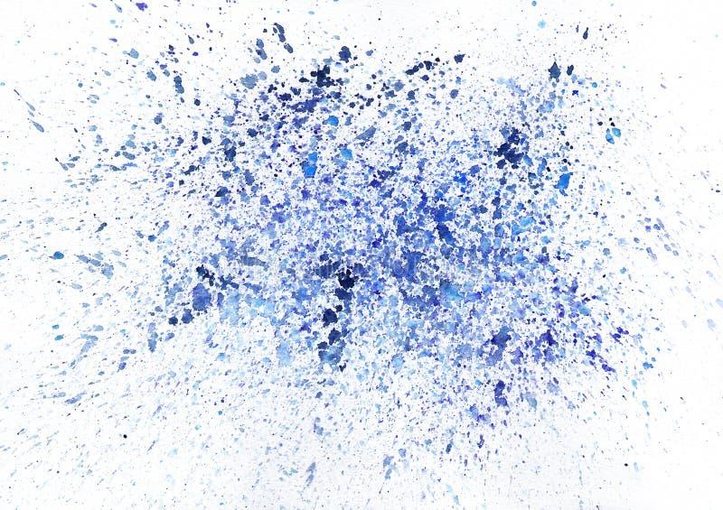 Künstlerisches Blaues Aquarell Spritzt. Raster Stockbild
