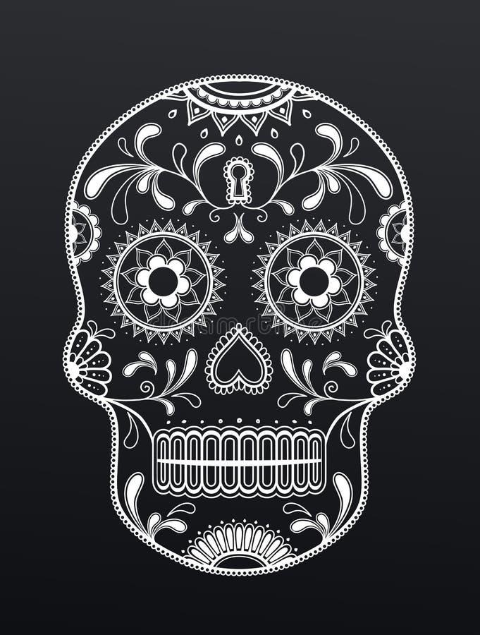 Künstlerisches mexikanisches Schädeldesign lizenzfreie abbildung