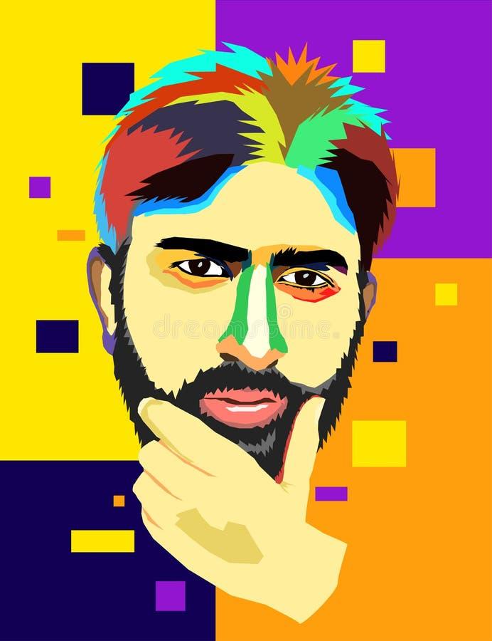 Künstlerisches Porträt eines Mannes in der Betrachtung lizenzfreie abbildung