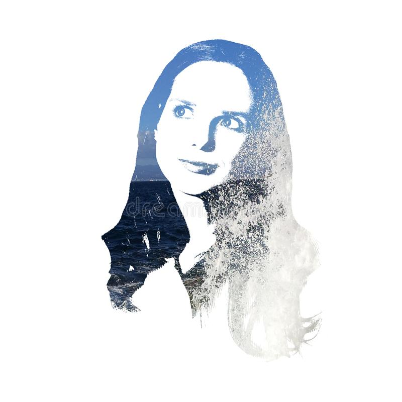 Künstlerisches Porträt mit Spritzen einer jungen Frau stockfoto