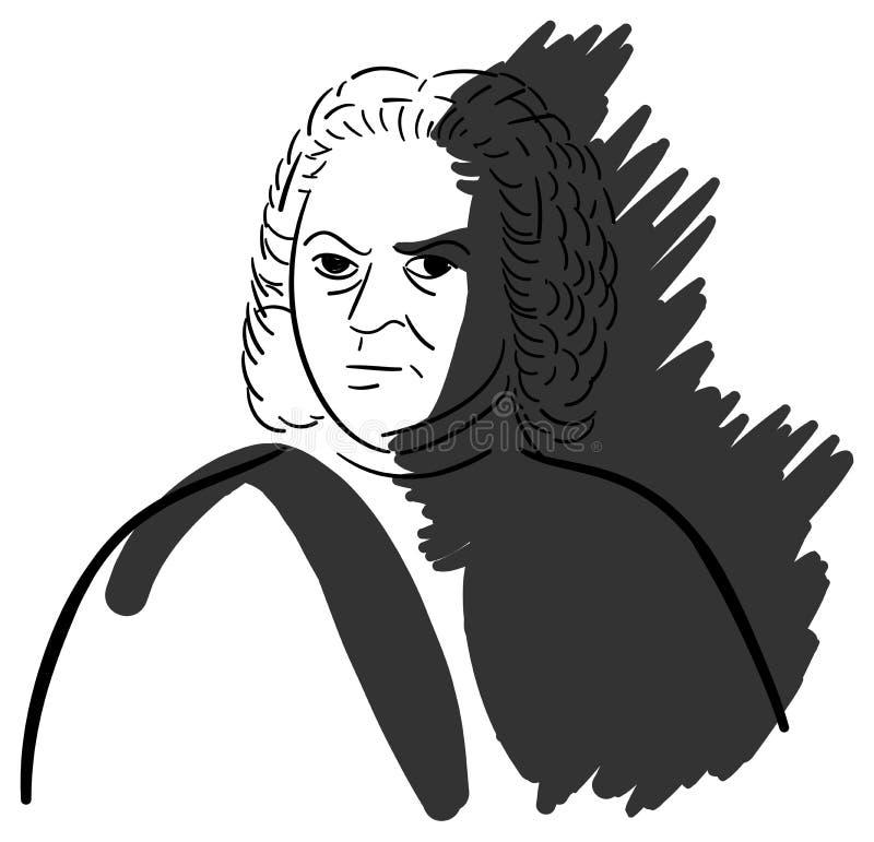 Künstlerisches Porträt von Johann Sebastian Bach vektor abbildung