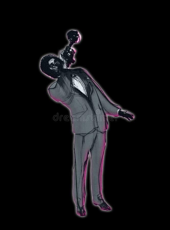 Künstlerisches Schwarzes und Grey Illustration von klassischer Jazz Trumpet Player lizenzfreie abbildung