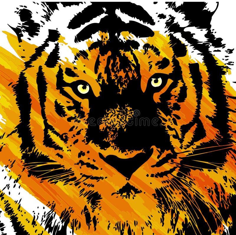 Künstlerisches Tigergesicht lizenzfreie abbildung