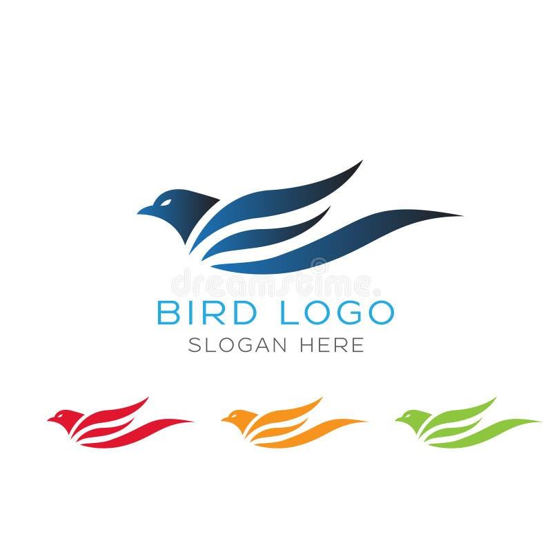 Künstlerisches Vogellogo mit unterschiedlicher Farbe auf weißem Hintergrund stock abbildung