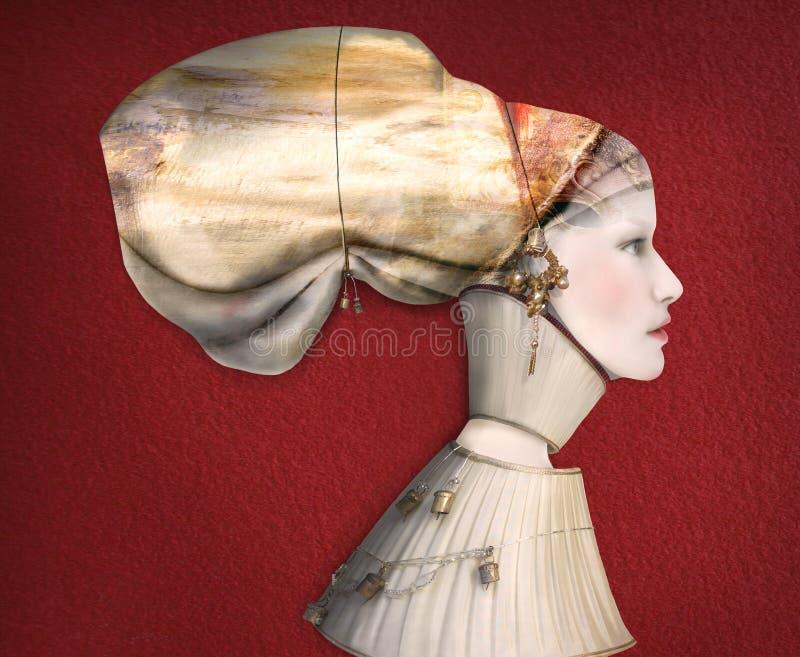 Künstlerisches weibliches Porträt-Profil im Kostüm stockfotografie
