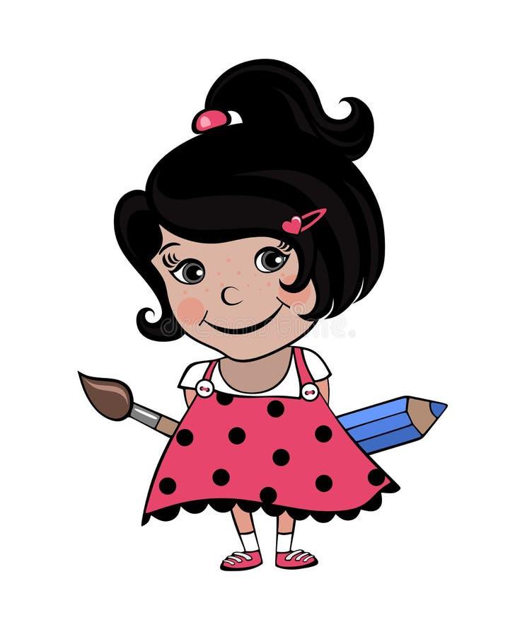 Künstlerlächeln des kleinen Mädchens vektor abbildung