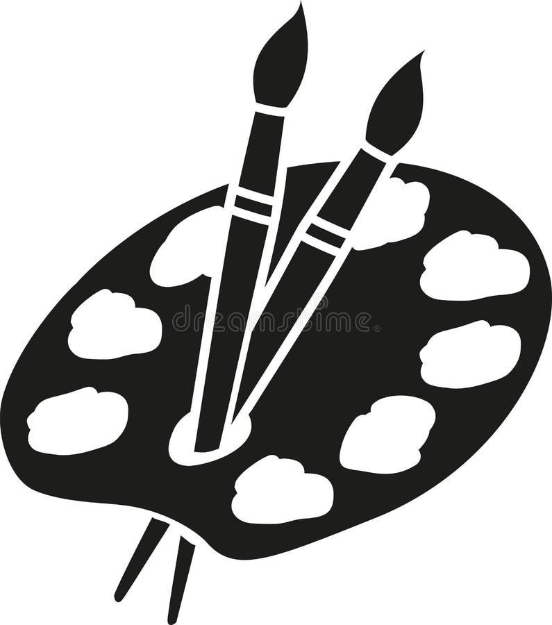 Künstlerpalette mit Bürsten vektor abbildung