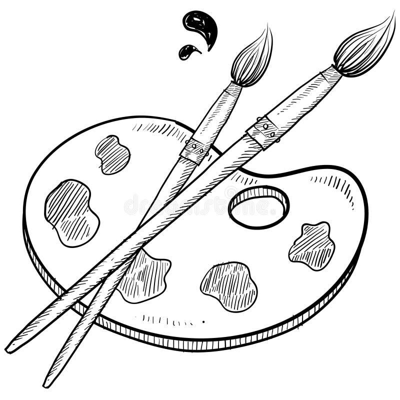 Künstlerpinsel- und -PALETTENskizze stock abbildung