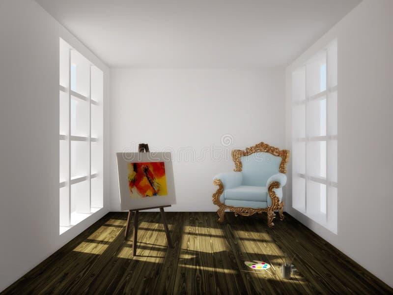 Künstlerraum stock abbildung