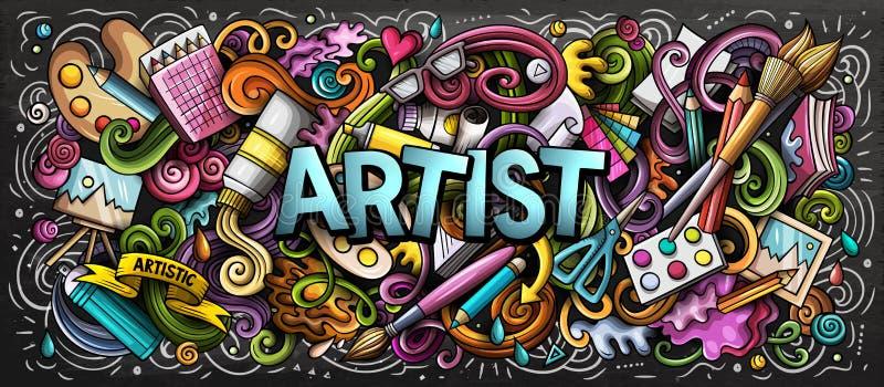 Künstlerversorgungs-Farbillustration Bildende Kunst-Gekritzel Malerei- und Zeichnungskunsthintergrund vektor abbildung