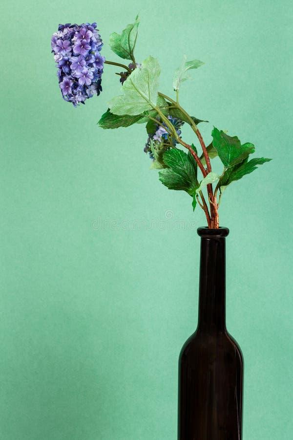 Künstliche Blume in brauner Flasche auf grün stockfotos