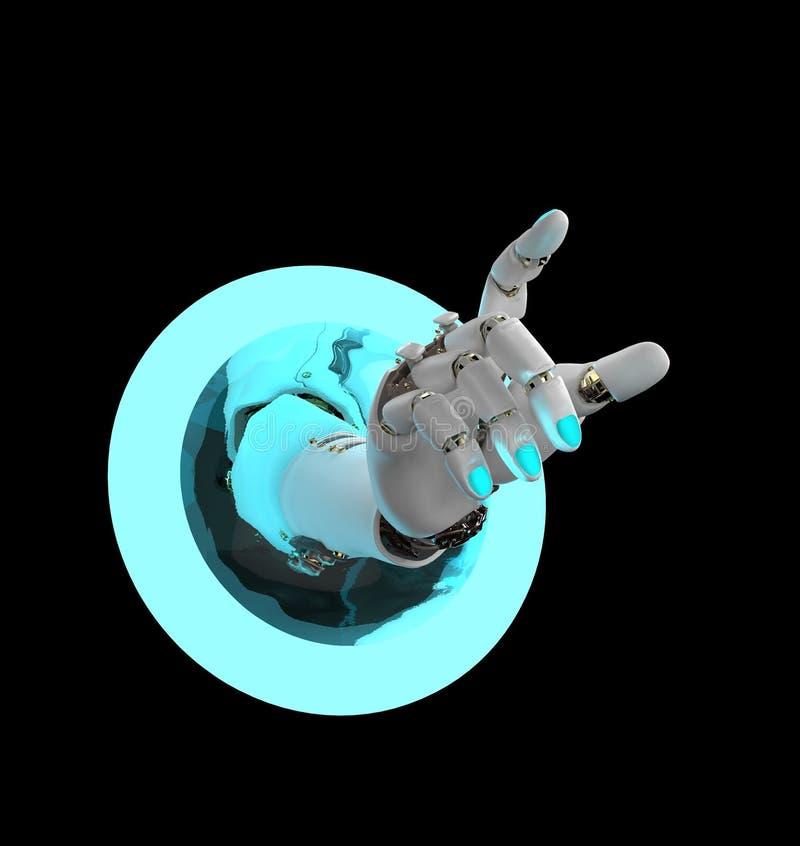 Künstliche Hand, die in einen Ring überschreitet lizenzfreie abbildung