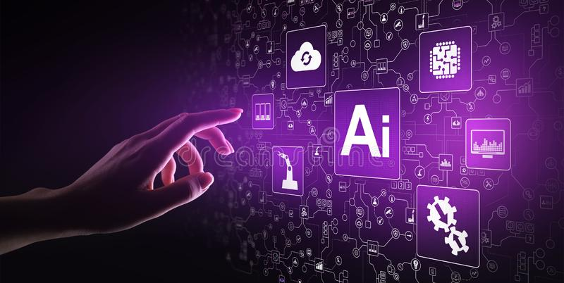 Künstliche Intelligenz AI, Lernfähigkeit einer Maschine, große Datenanalyse und Automationstechnik im Geschäft stockbilder