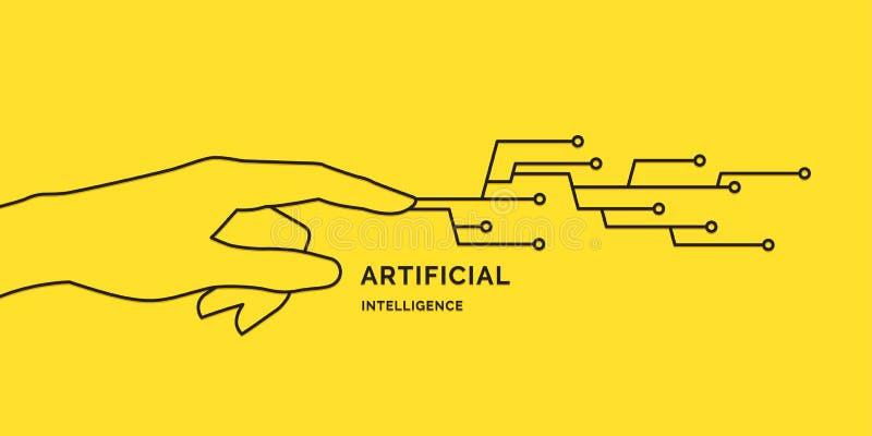Künstliche Intelligenz Begriffsillustration auf dem Thema von Digitaltechniken stock abbildung