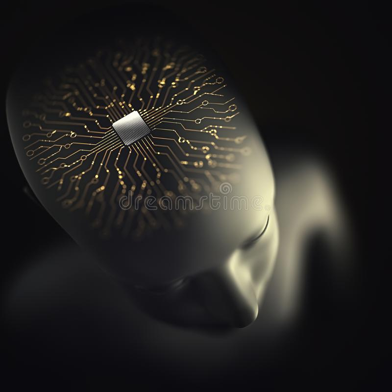 Künstliche Intelligenz Brain Microprocessor Nervous System vektor abbildung