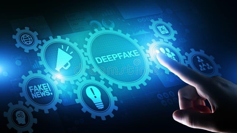 Künstliche Intelligenz der tiefen gefälschten Nachrichten im Medientechnikkonzept auf virtuellem Schirm lizenzfreie stockfotografie