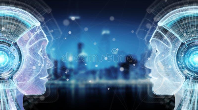 Künstliche Intelligenz Digital Wiedergabe der Cyborgschnittstelle 3D stock abbildung