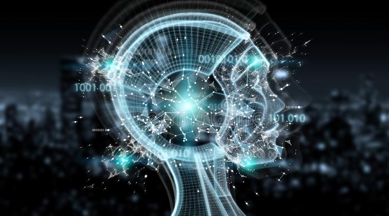 Künstliche Intelligenz Digital Wiedergabe der Cyborgschnittstelle 3D lizenzfreie abbildung