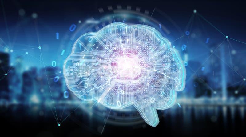 Künstliche Intelligenz in einem digitalen Gehirnhintergrund 3D renderi vektor abbildung