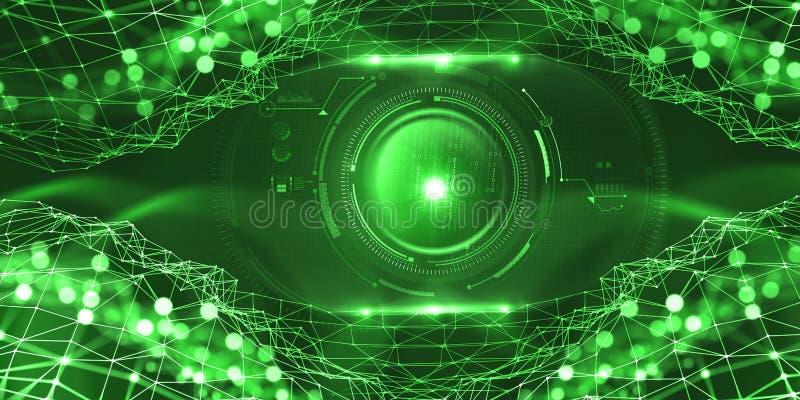 Künstliche Intelligenz im globalen Netzwerk Digitaltechniken der Zukunft Computer-Bewusstseinskontrolle stock abbildung