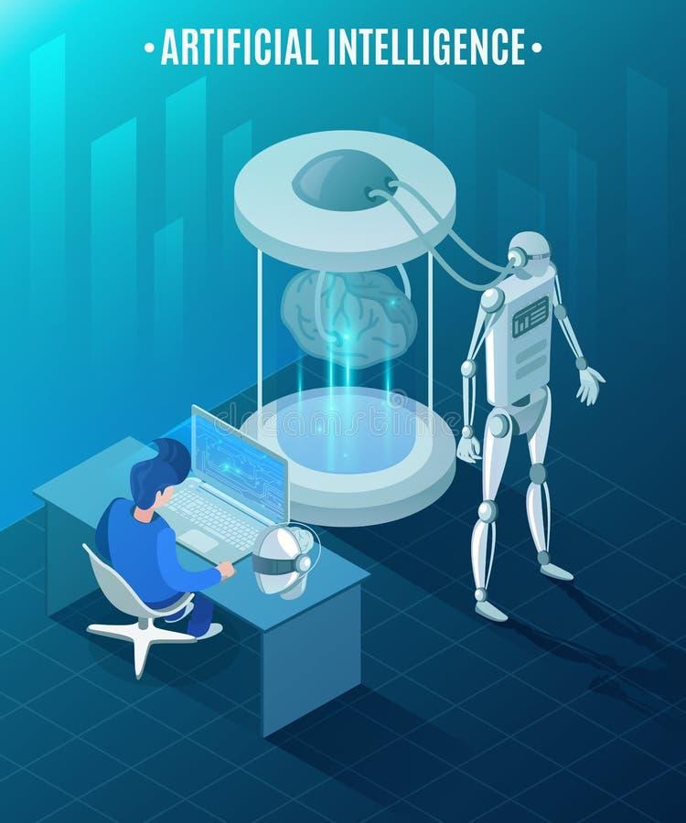 Künstliche Intelligenz-isometrische Illustration lizenzfreie abbildung