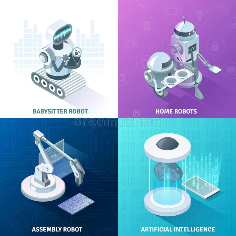 Künstliche Intelligenz-isometrisches Konzept des Entwurfes stock abbildung