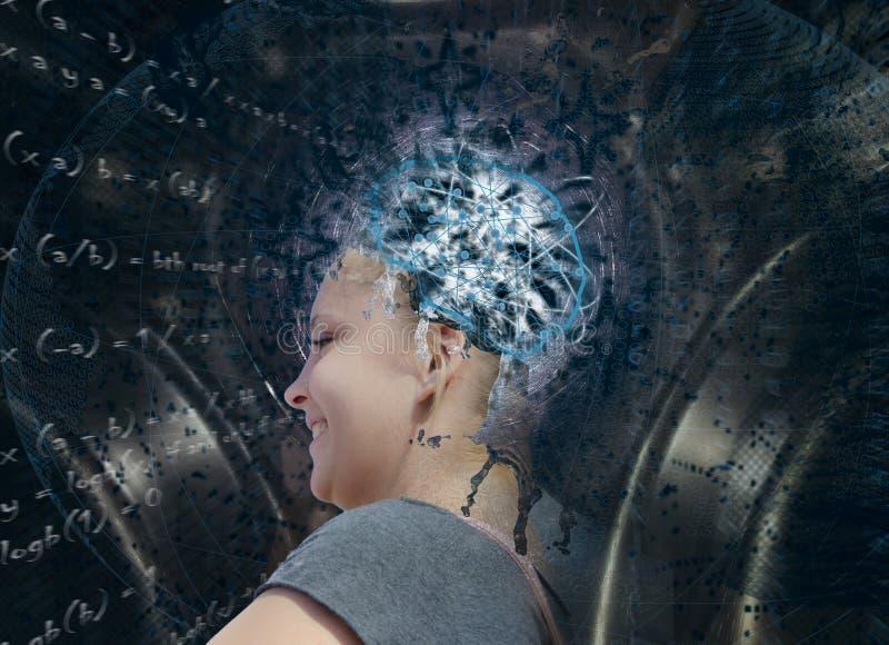 Künstliche Intelligenz Junge blonde Frau in der Zusammensetzung bezüglich der zukünftigen Technologien stockfotografie