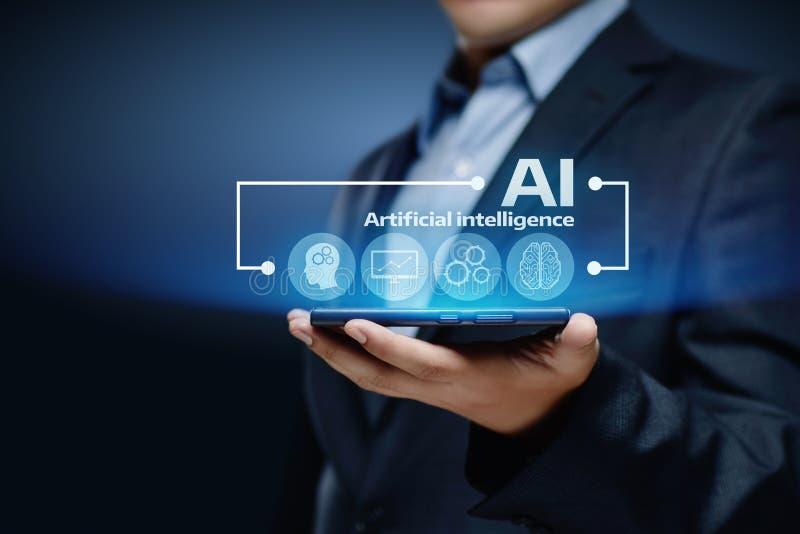 Künstliche Intelligenz Lernfähigkeit- einer Maschinegeschäfts-Internet-Technologie-Konzept stockbild