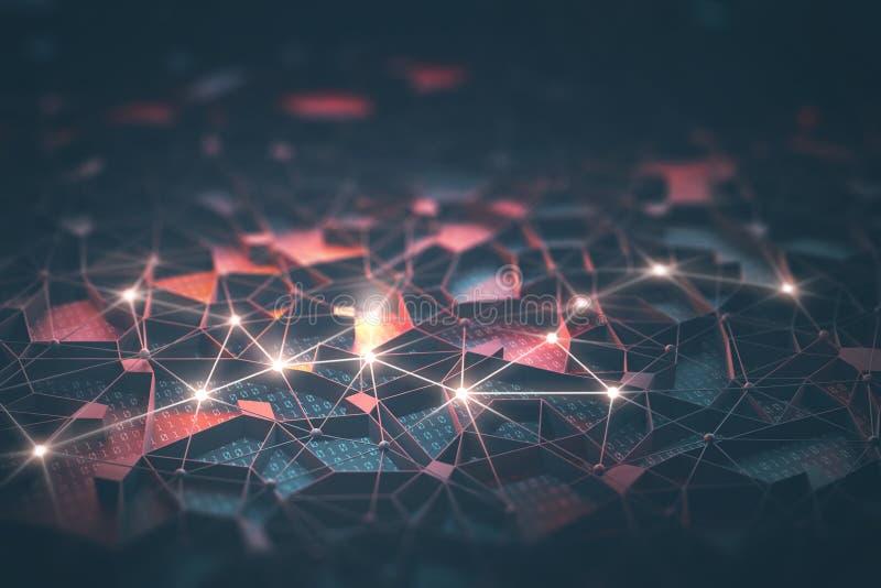 Künstliche Intelligenz/neurales Netz lizenzfreie abbildung