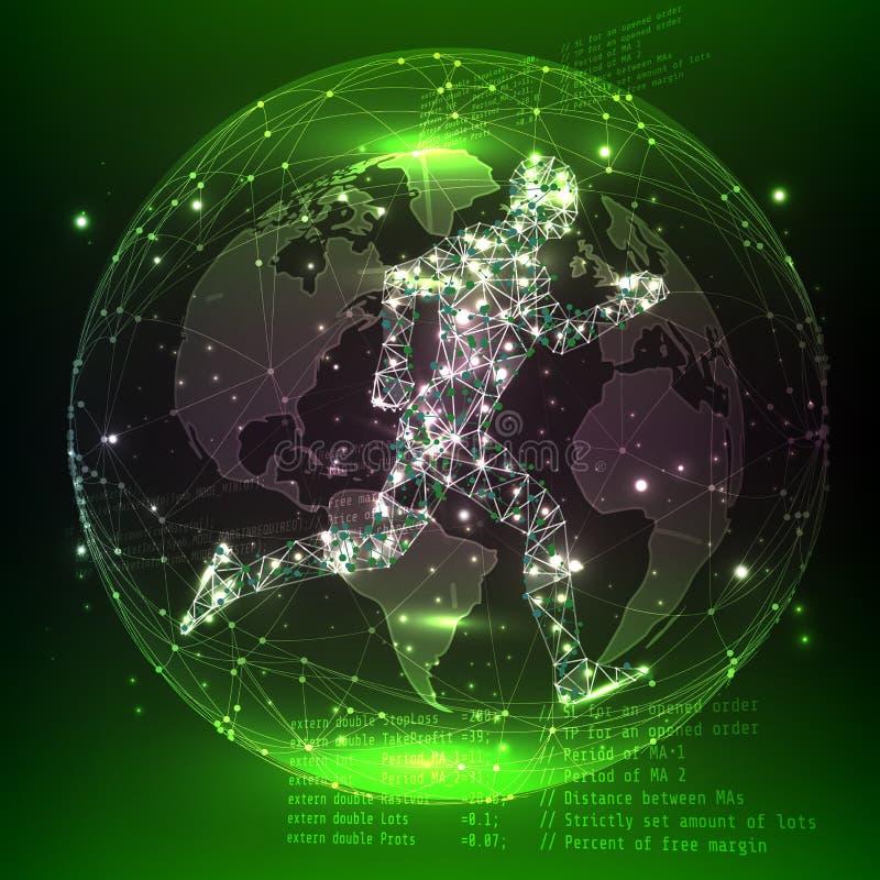 Künstliche Intelligenz oder Roboter mit menschlichem Abstrakte digitale Welt mit neuralen Netzen Auch im corel abgehobenen Betrag lizenzfreie abbildung