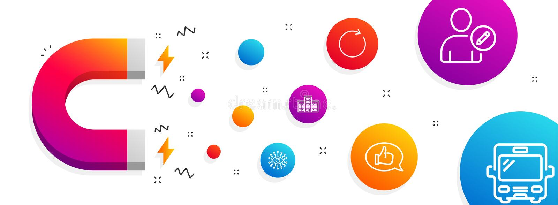 Künstliche Intelligenz, synchronisieren und Firmenikonensatz Feedback, redigieren Benutzer und Buszeichen Vektor vektor abbildung