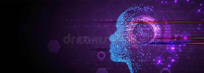 Künstliche Intelligenz Technologienetzhintergrund Virtuelles conc stock abbildung