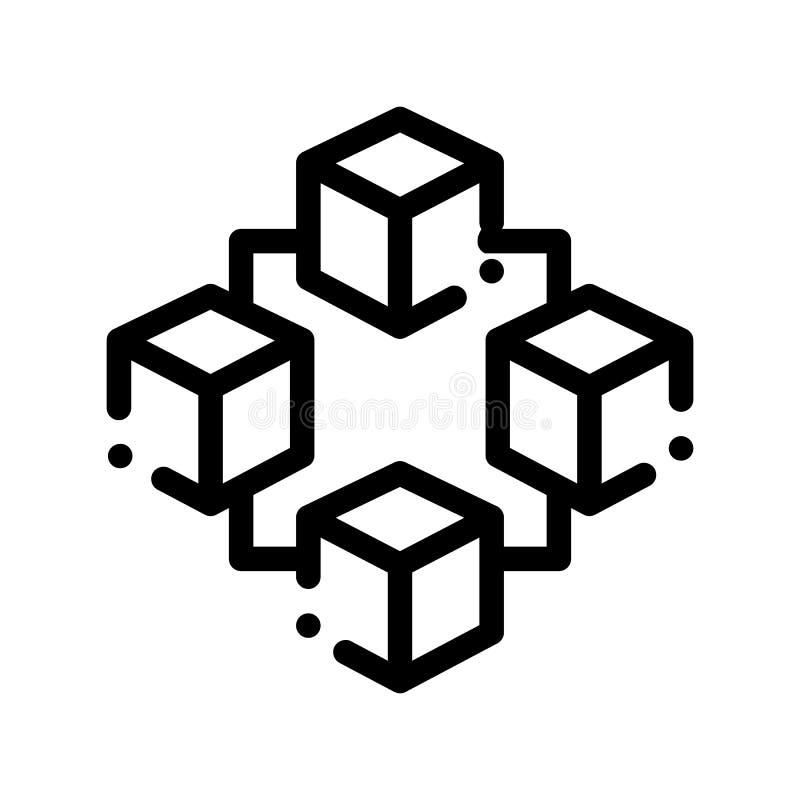 Künstliche Intelligenz-Vektor-Ikone Blockchain lizenzfreie abbildung