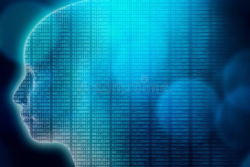 Künstliche oder Maschinenintelligenz oder AI-Illustration 3d machen menschliches Hauptprofil gefüllt mit binär Code Transhumanism stock abbildung