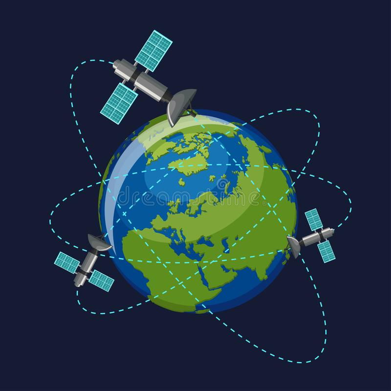 Künstliche Satelliten, welche die Planet Erde im Weltraum lokalisiert auf dunkelblauem Hintergrund in Umlauf bringen stock abbildung
