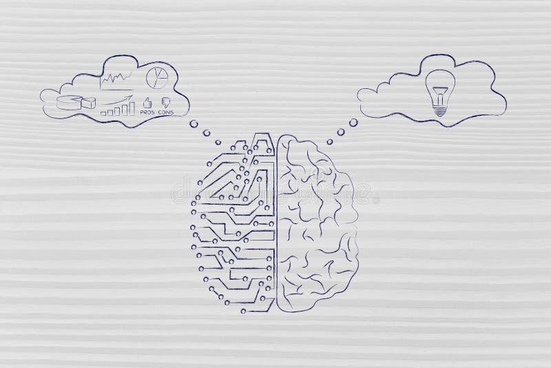 Künstliche Stromkreise und menschliches Gehirn mit Gedankenblasen stock abbildung