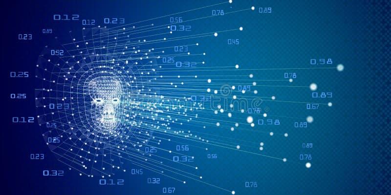 Künstlicher binärer Hintergrund der großen Daten Futuristisches lineares intell lizenzfreie abbildung
