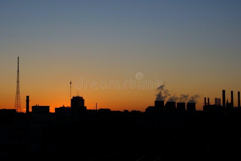 Künstlicher Sonnenuntergang moskau stockfoto