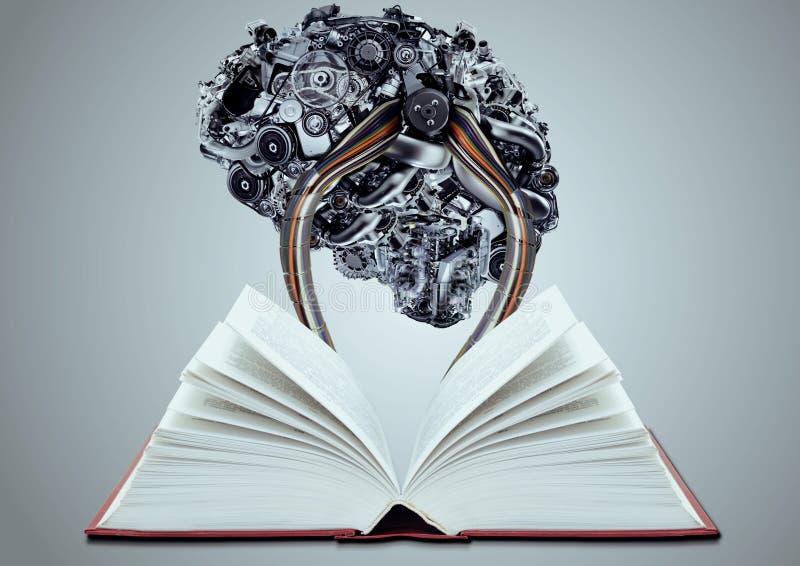 Künstliches Gehirn angeschlossen an Buch stock abbildung